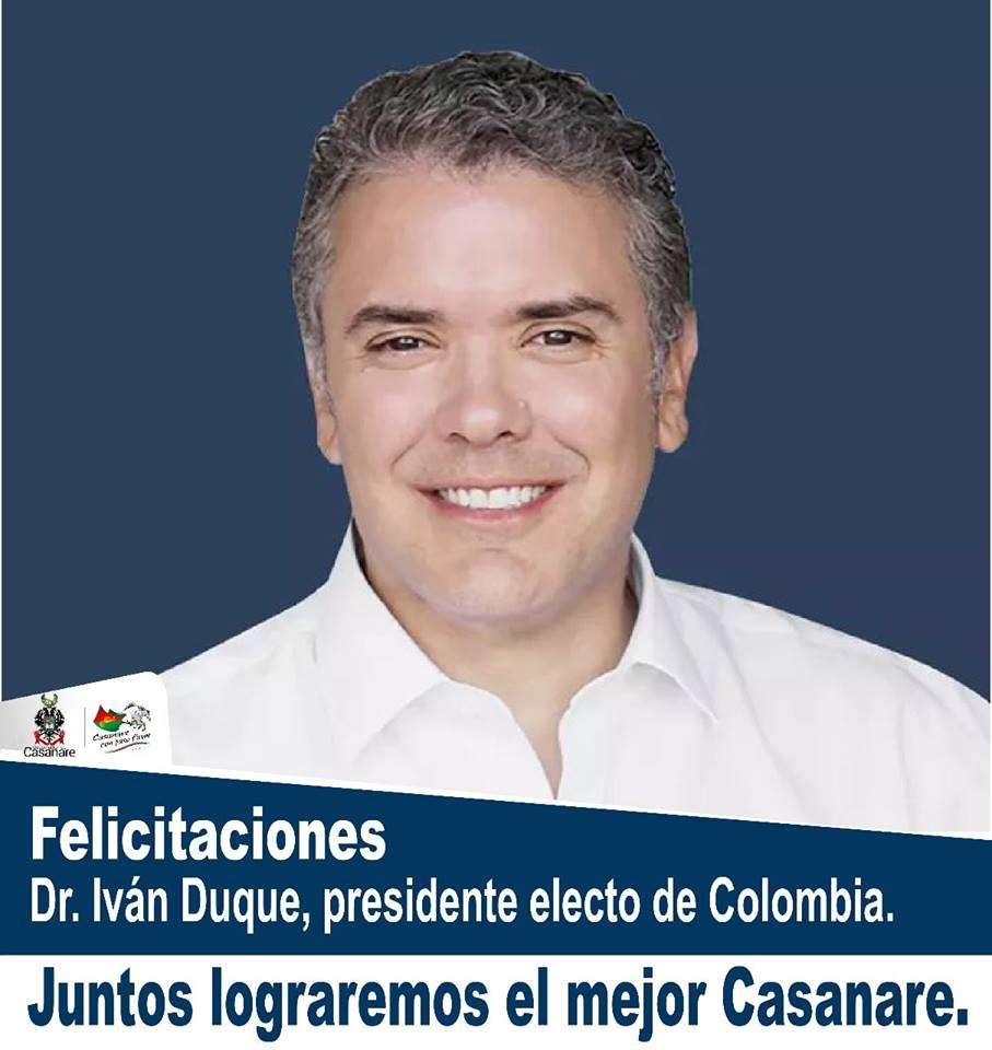Josué Alirio Barrera Felicita a Iván Duque por su triunfo