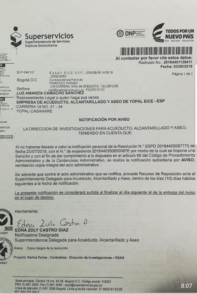 Superintendencia de servicios públicos multa a empresa de acueducto de Yopal por mal manejo de relleno sanitario