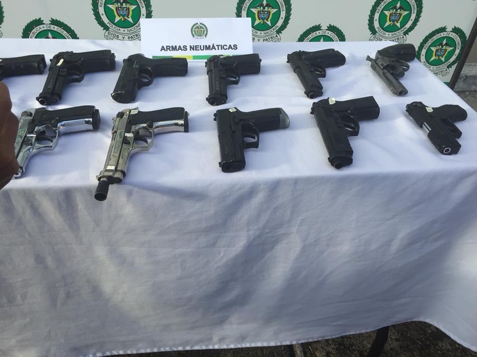 Policía incauta en Yopal  armas  neumáticas y de fogueo