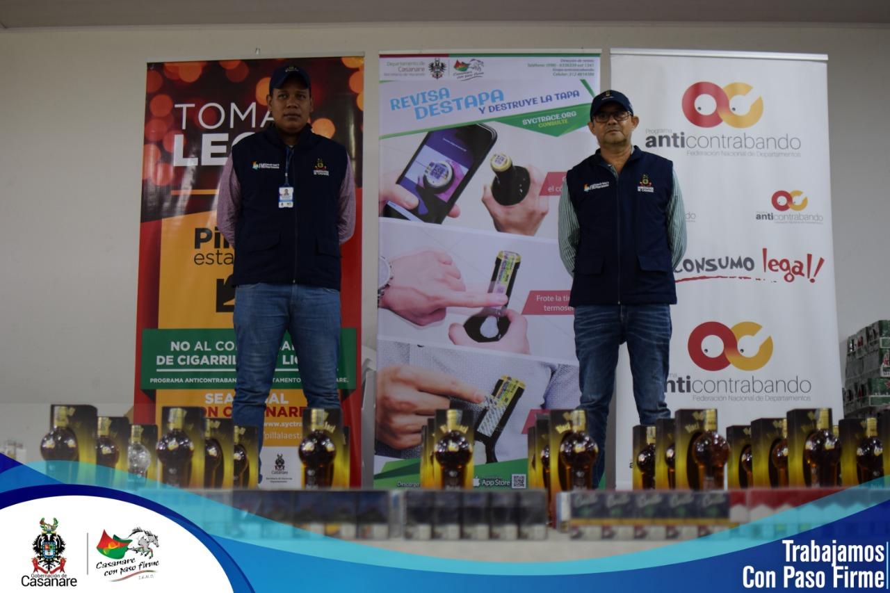 Autoridades incautan licor y cigarrillos Villanueva Casanare