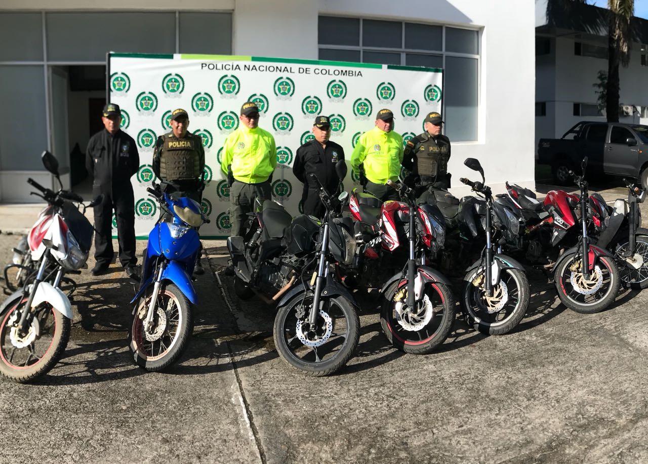 Policía de Casanare recupera 7 motocicletas robadas