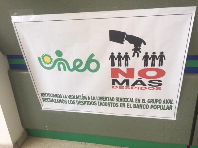 """Empleados del Banco Popular  de Yopal en pie de lucha contra """"Salvajismo Patronal"""" del grupo Aval."""