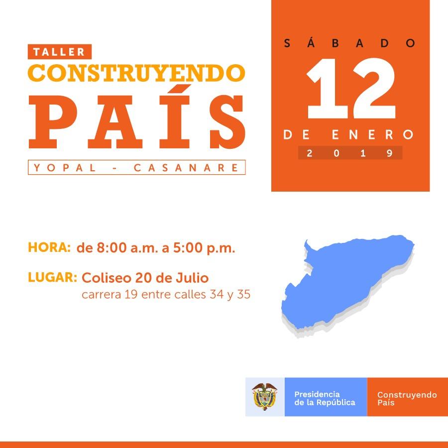 El 12 de Enero Iván Duque en Yopal en taller construyendo país