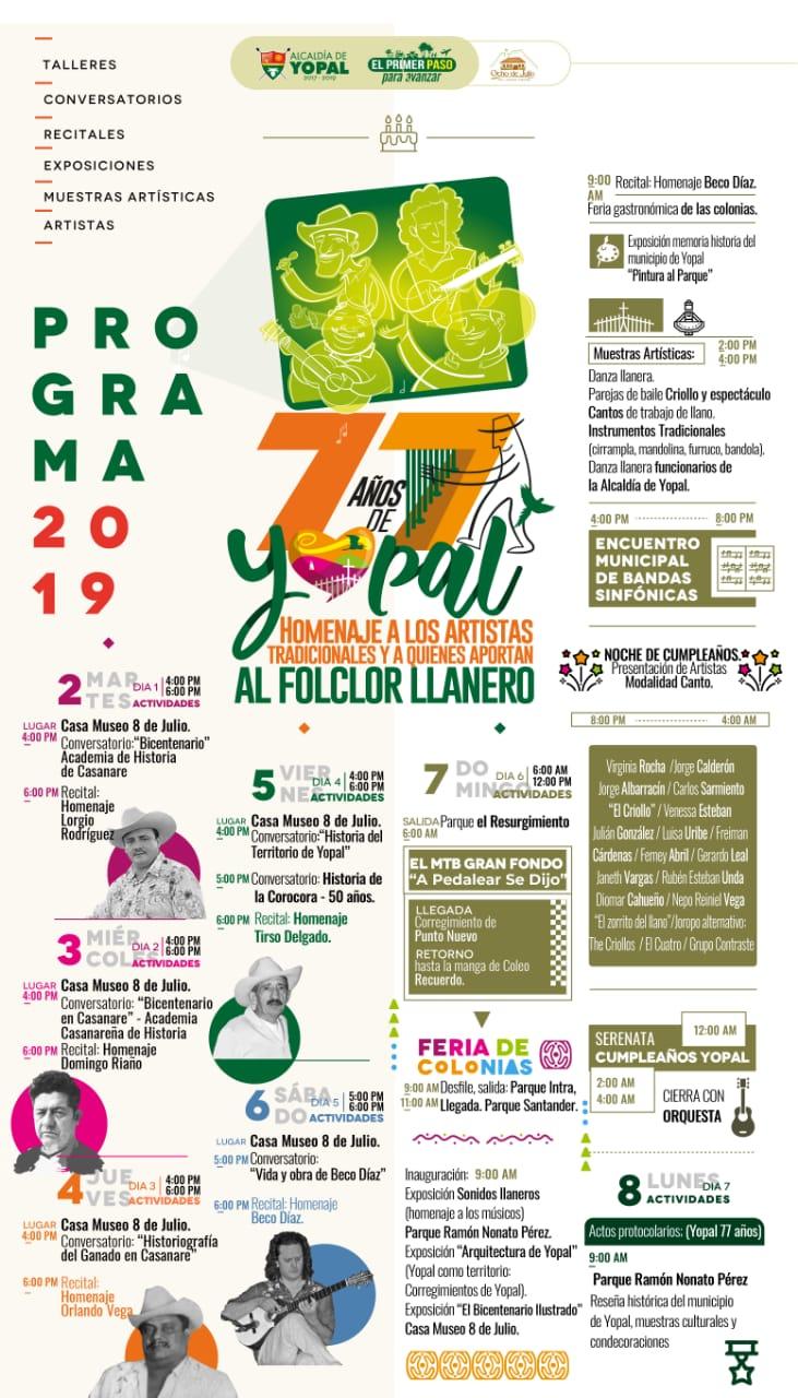 Lista celebración de los 77 años de Yopal