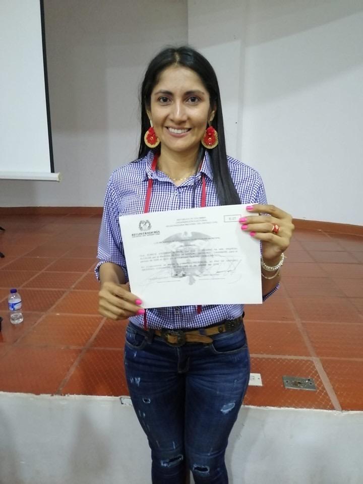 Eunice Escobar recibe credencial como alcaldesa electa de Paz de Ariporo