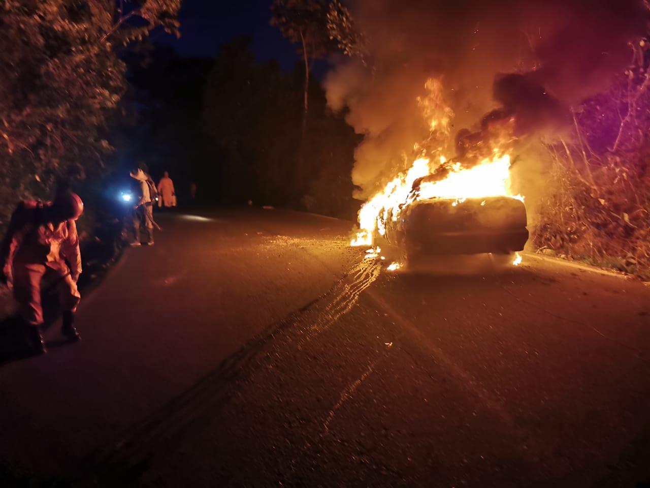Se incendia vehículo en vía a Nunchía